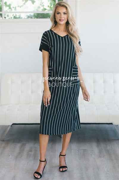The Taylee Swing Dress Modest Dresses vendor-unknown Black & White Stripes S