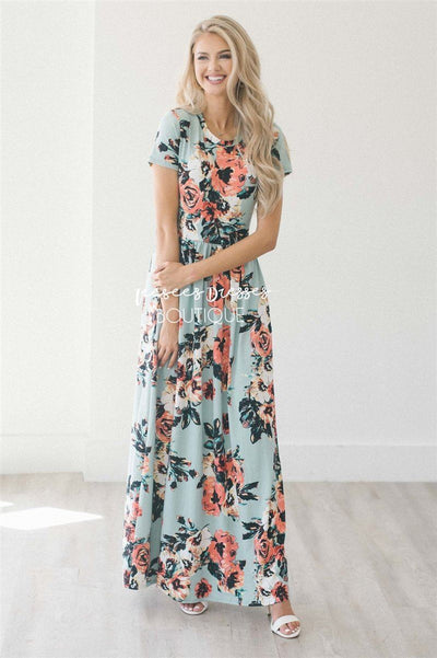 Mint Watercolor Short Sleeve Maxi Dress Modest Dresses vendor-unknown