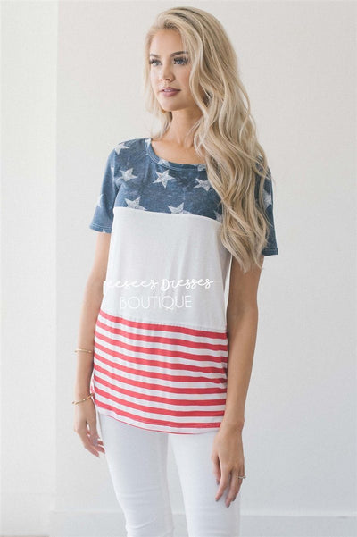 Color Block American Flag Top Tops vendor-unknown S Navy & White Stars
