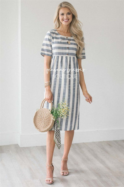 The Katia NEW vendor-unknown Dusty Navy & Oatmeal Stripes S