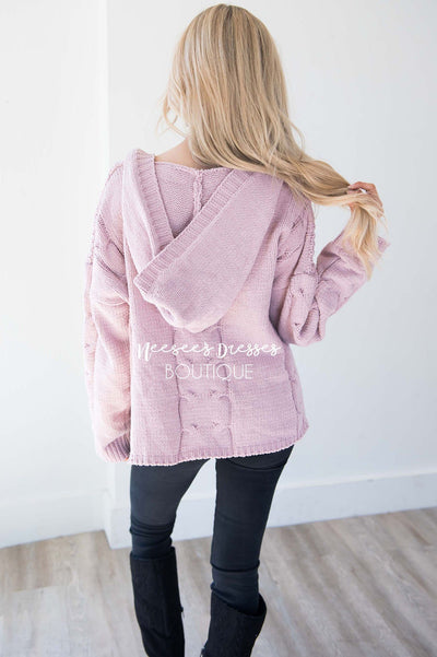 Icy Girl Cable Knit Hoodie Tops vendor-unknown