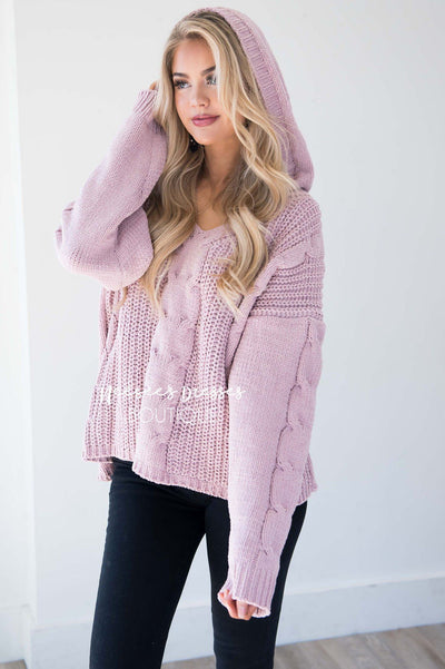 Icy Girl Cable Knit Hoodie
