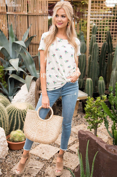 Front Knot Cactus Print Top Tops vendor-unknown
