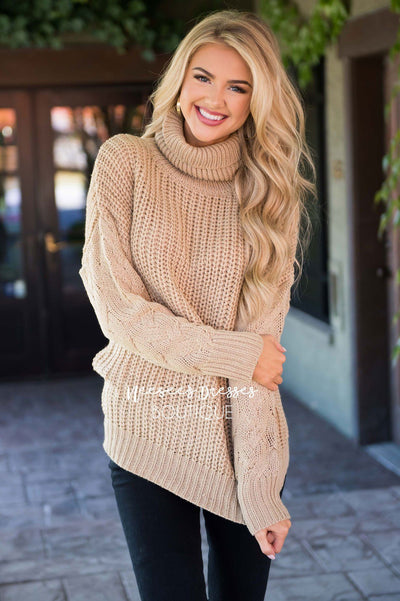 All Snowed In Cable-knit Turtleneck Sweater