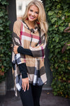 Seasons Of Love Plaid Poncho Tops vendor-unknown