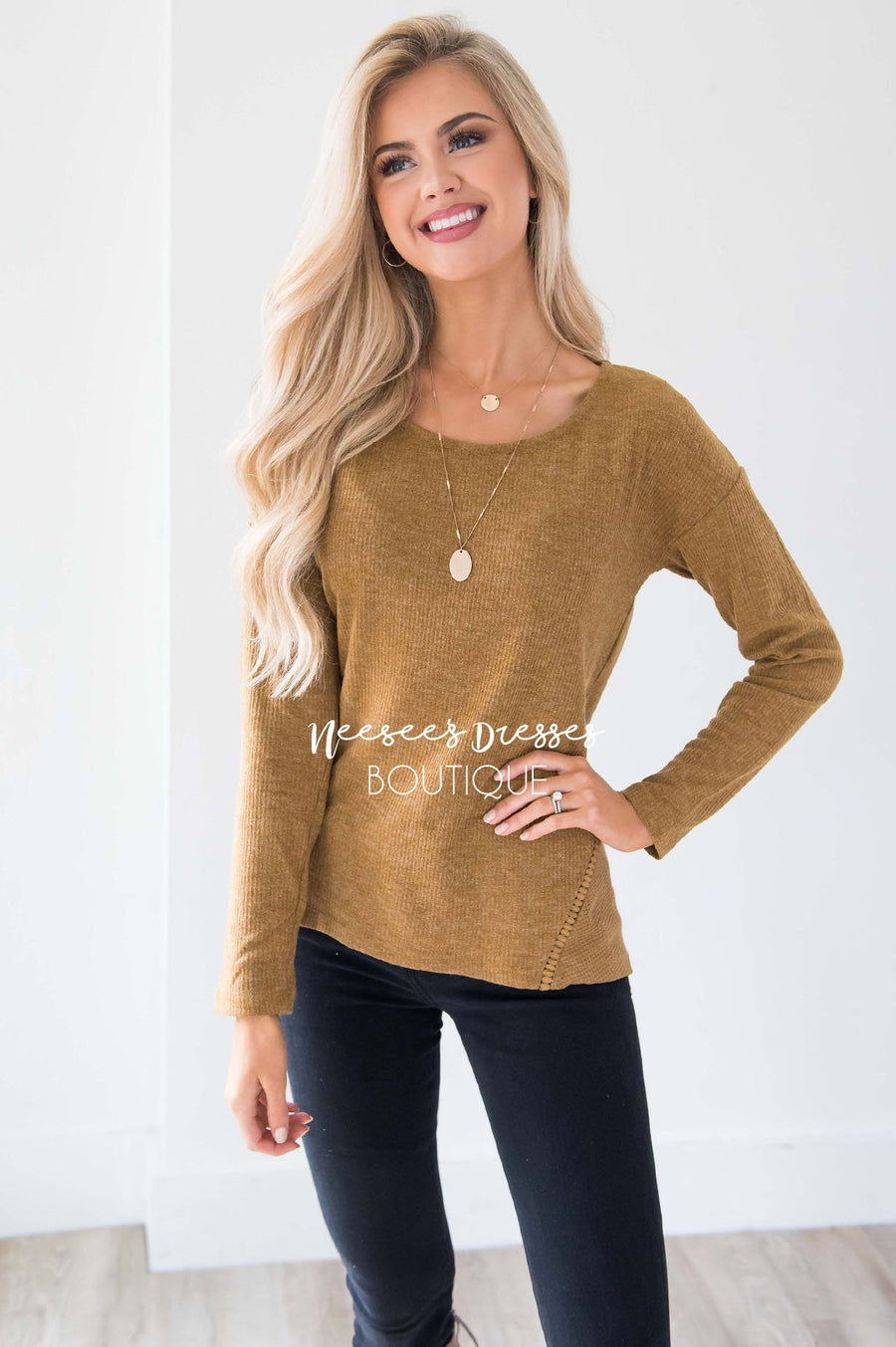 Ribbed Camel Ladder Lace Detail Thermal