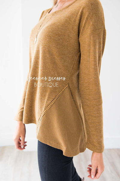 Ribbed Camel Ladder Lace Detail Thermal Tops vendor-unknown