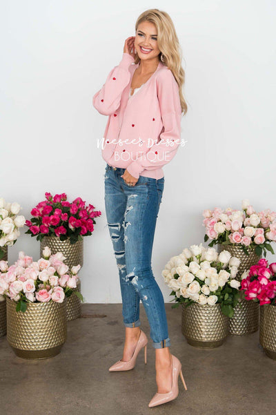 Queen of Hearts Pink Cardigan Tops vendor-unknown