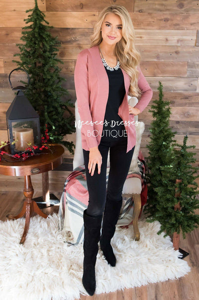 Simple Long Sleeve Pocket Cardigan Tops vendor-unknown