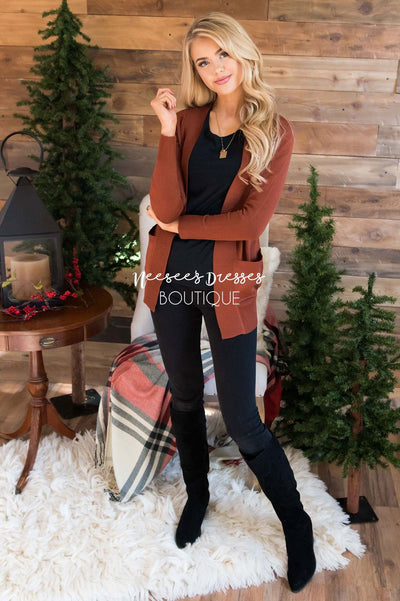 Simple Long Sleeve Pocket Cardigan