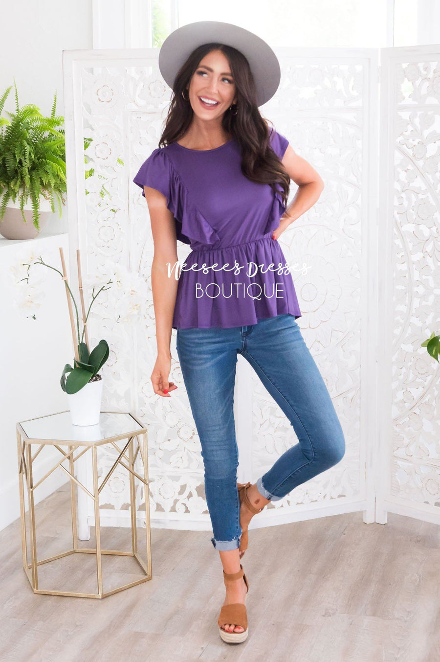 Carefree Modest Ruffle Peplum Blouse