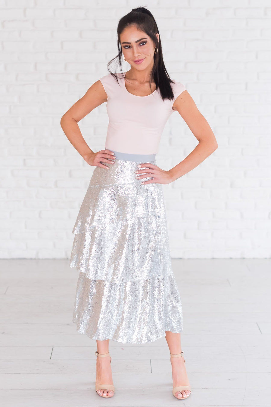 Caught My Eye Modest Sequin Skirt