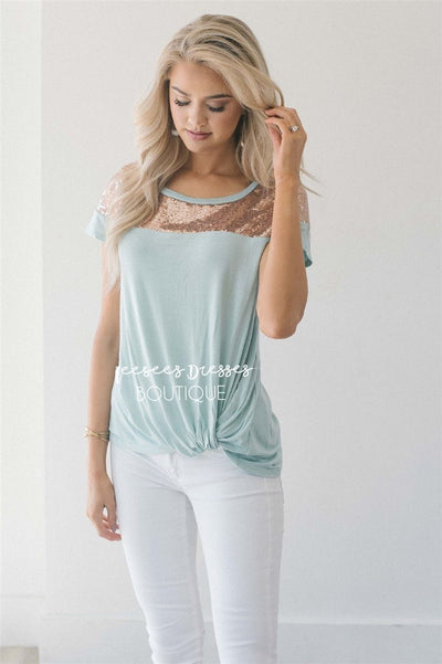 Sequin Shoulder Twist Top Tops vendor-unknown