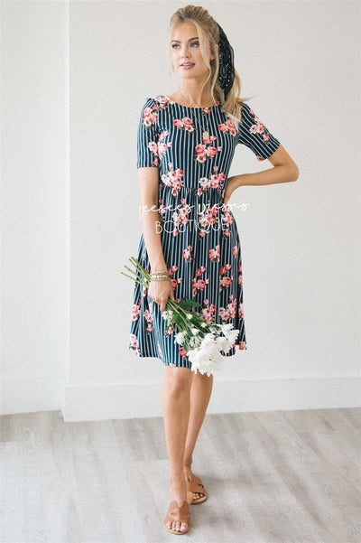 The Natalie Modest Dresses vendor-unknown Navy Pinstripe & Bright Pink Floral XS