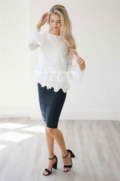 Stunning Lace & Pleats Bell Sleeve Blouse Tops vendor-unknown