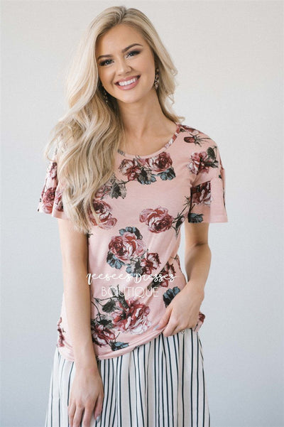 Floral Scoop Neck Bell Sleeve Top Tops vendor-unknown Pink Floral XS