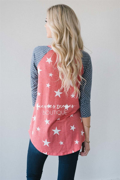 Stars & Polka Dots Baseball Sleeve Top Red White & Blue vendor-unknown