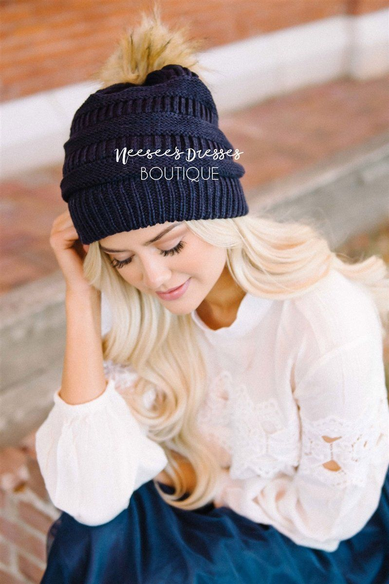 Navy Fur Pom Knit Beanie Accessories & Shoes Leto Accessories Navy One Size