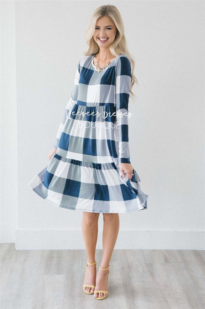 The Selena Modest Dresses vendor-unknown S Navy & White Plaid