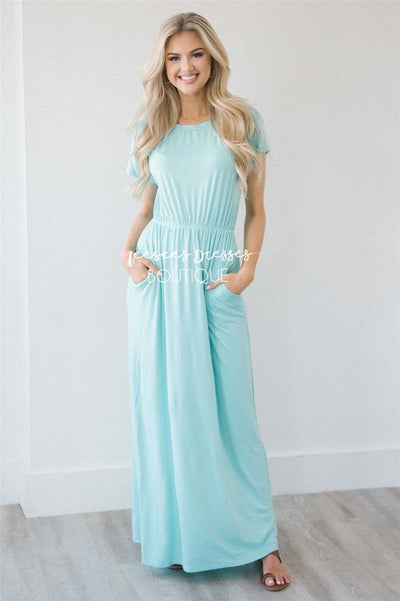 The Harlyn Short Sleeve Maxi Modest Dresses vendor-unknown S Mint