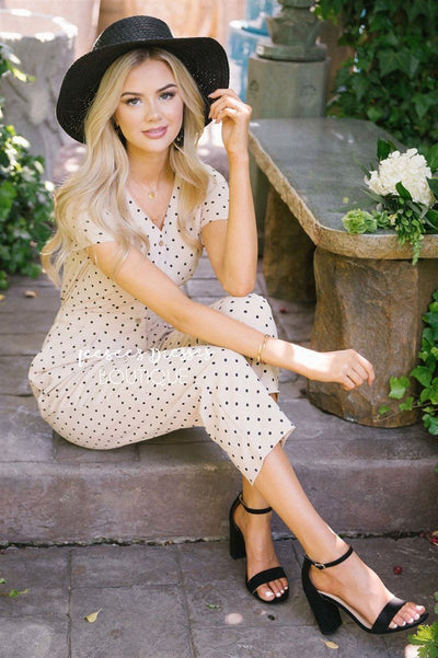 The Mimi Polka Dot Jumpsuit Modest Dresses vendor-unknown S Taupe