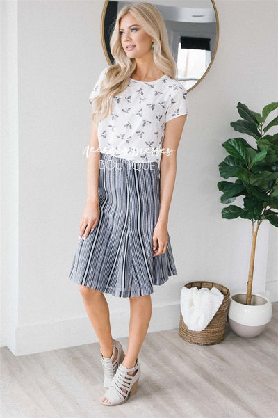 Spring Fiesta Fun Aline Skirt Skirts vendor-unknown Black & White XS