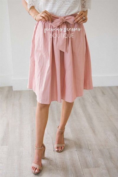 Chambray Tie Waist Skirt Skirts vendor-unknown Dusty Pink XS