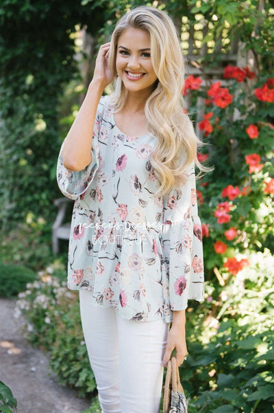 Chiffon Floral Peplum Bell Sleeve Top Tops vendor-unknown S Pastel Mint Floral