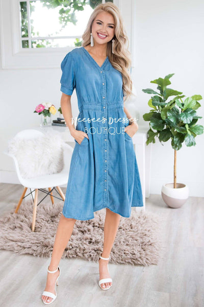 The Savannah Denim Dress Modest Dresses vendor-unknown