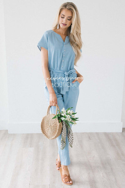Light Chambray Button Front Jumpsuit