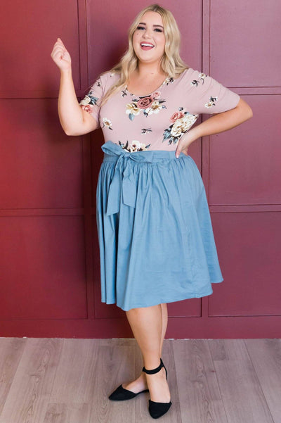 Chambray Tie Waist Skirt Skirts vendor-unknown