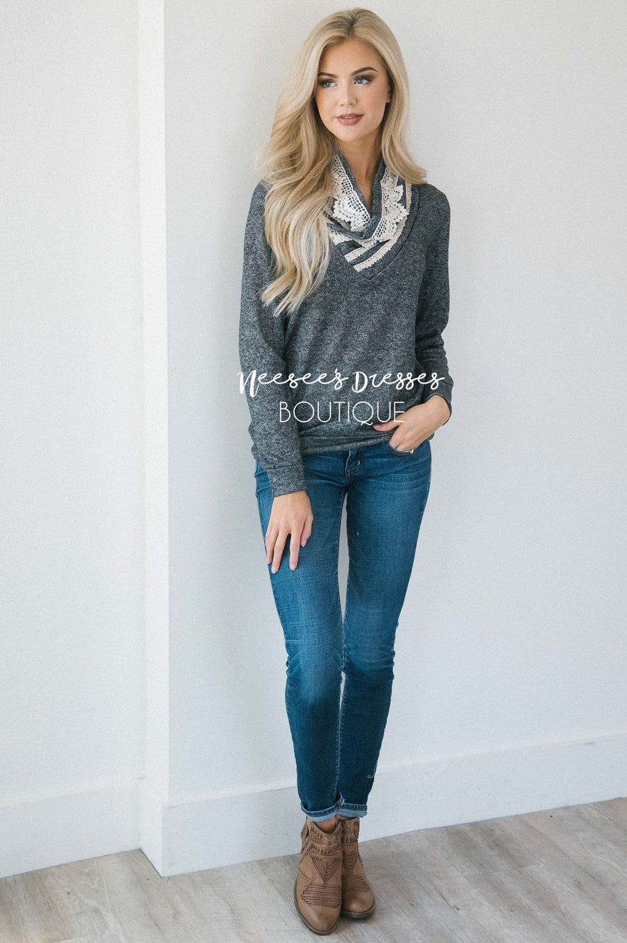 Charcoal & Cream Cozy Cowl Neck Sweater