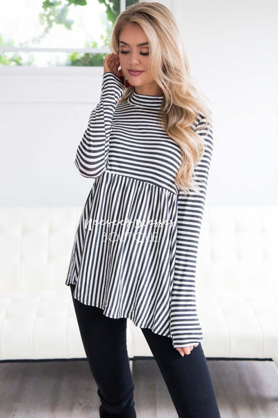 Down Town Dreams Striped Babydoll Top Tops vendor-unknown