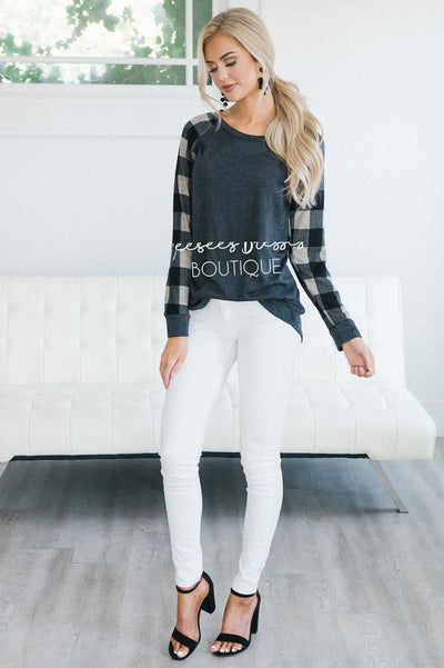 Charcoal & Taupe Plaid Sleeve Sweatshirt Tops vendor-unknown