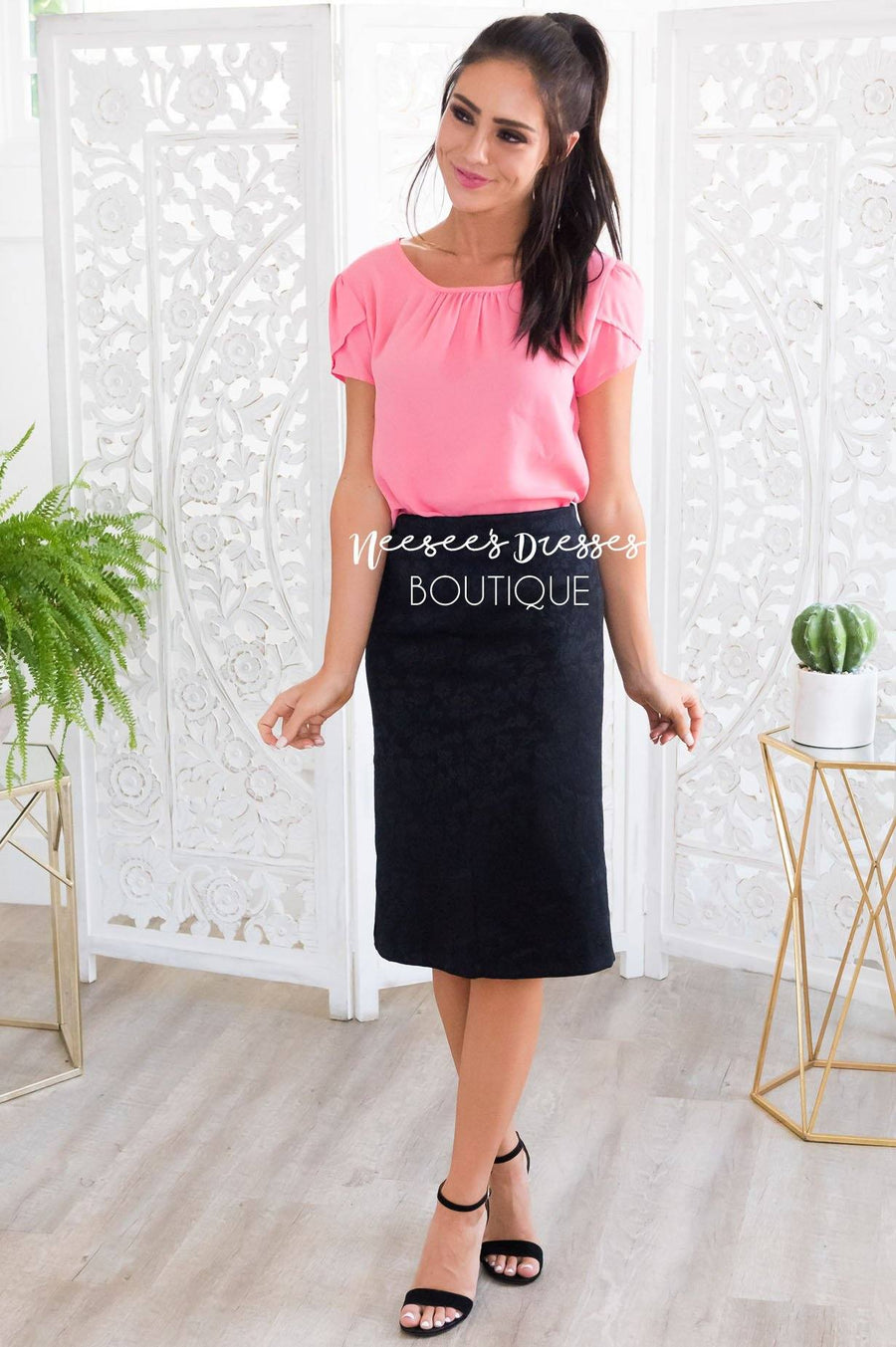 Black Rose Satin Pencil Skirt