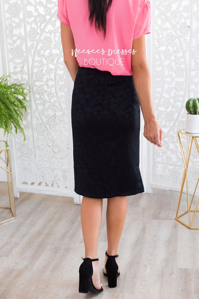 Black Rose Satin Pencil Skirt Skirts vendor-unknown
