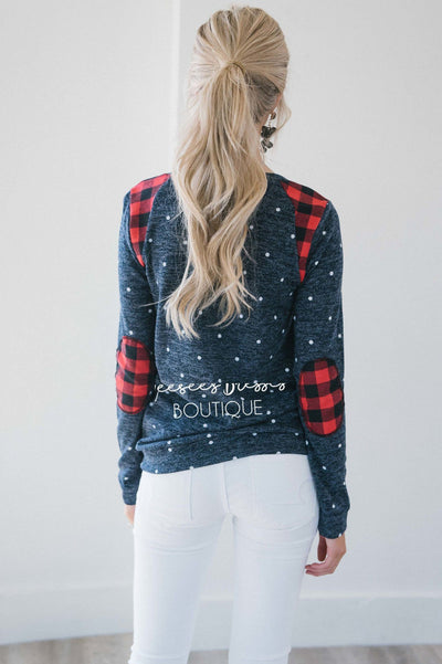 Polka Dot & Plaid Elbow Patch Top