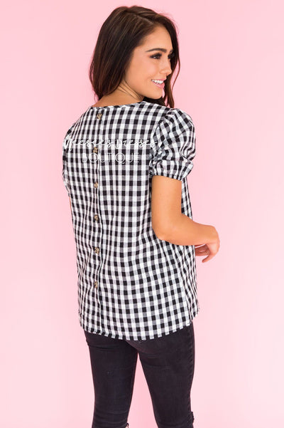 All About Gingham Modest Blouse Tops vendor-unknown