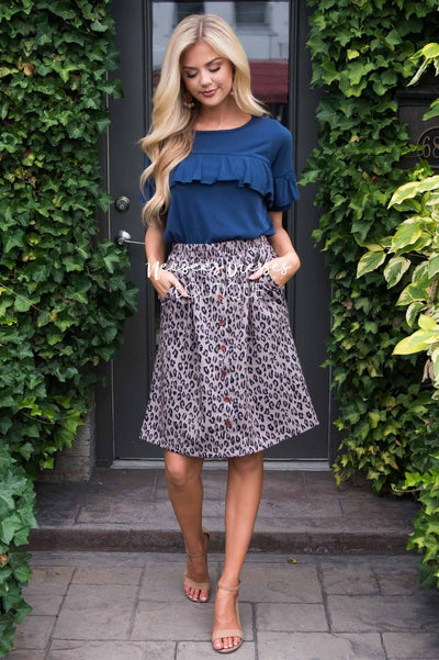 Burst Of Joy Animal Button Skirt Modest Dresses vendor-unknown