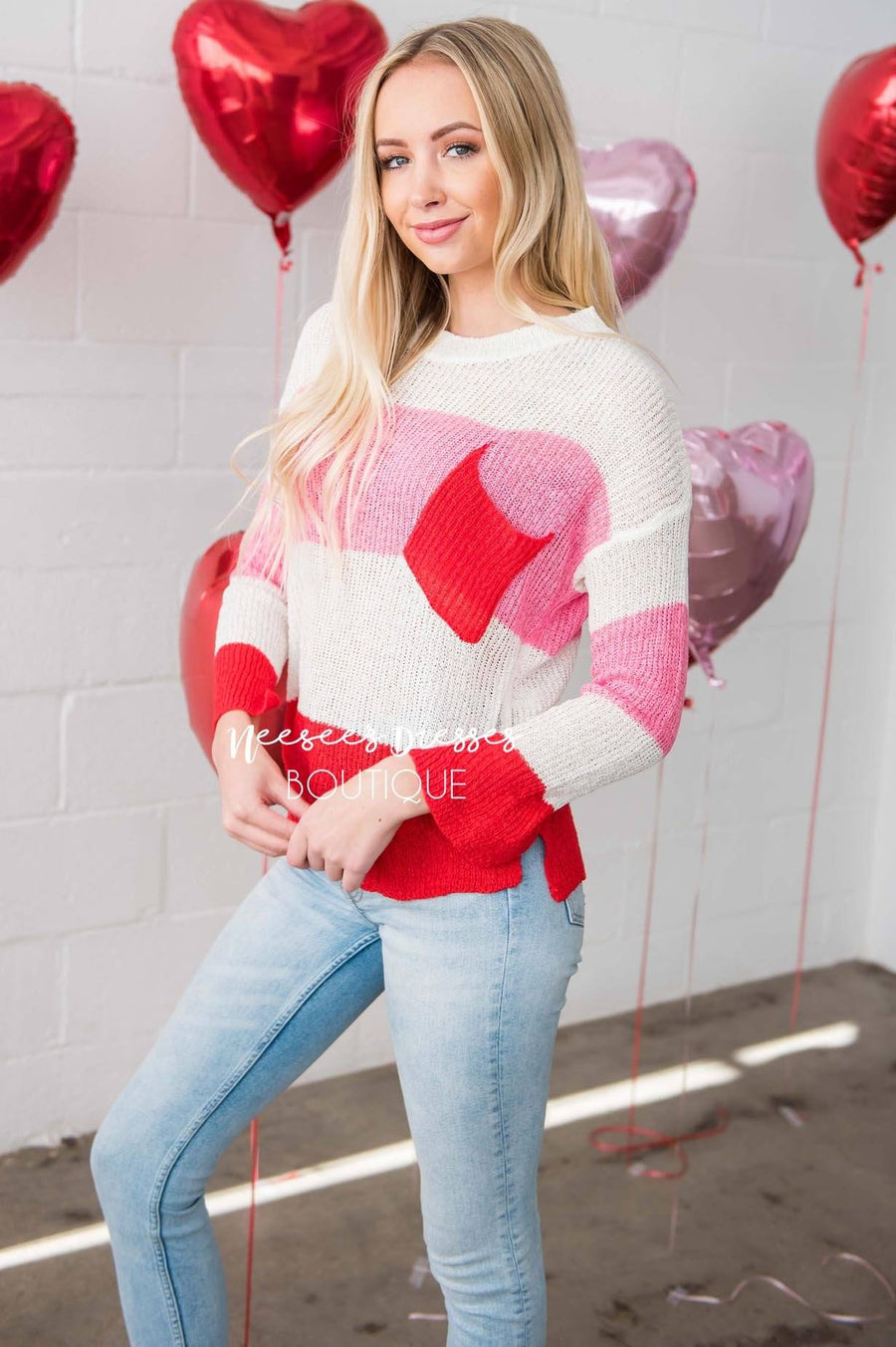 Be Mine Colorblock Pocket Sweater