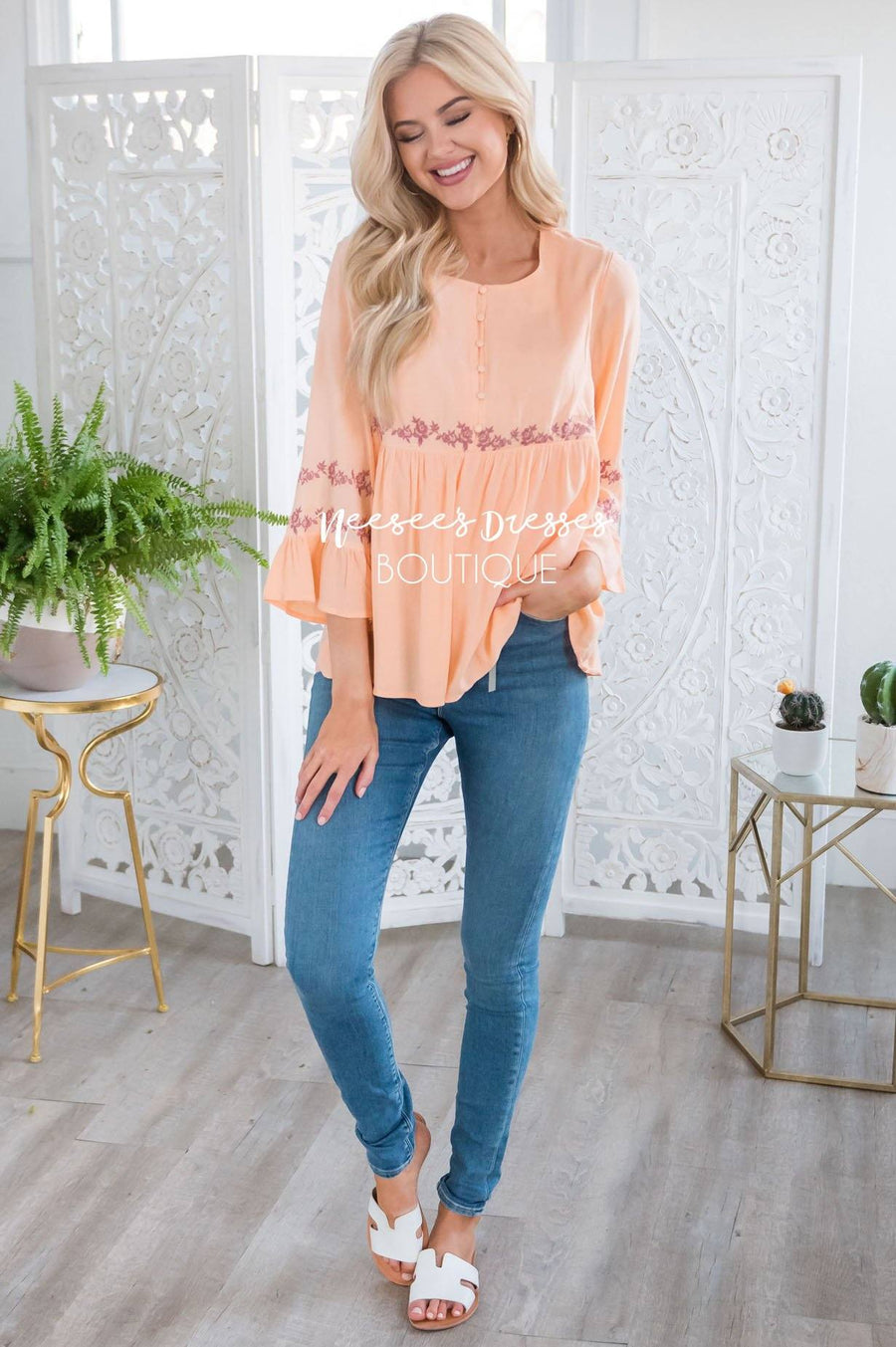 Bright Coral Flounce Embroidered Blouse