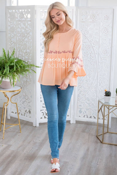 Bright Coral Flounce Embroidered Blouse Tops vendor-unknown