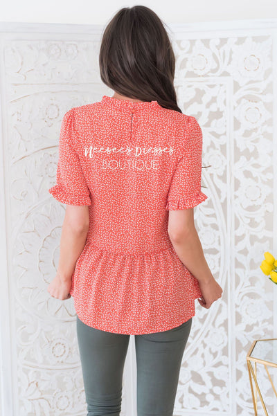 Lift My Spirit Modest Peplum Blouse Tops vendor-unknown