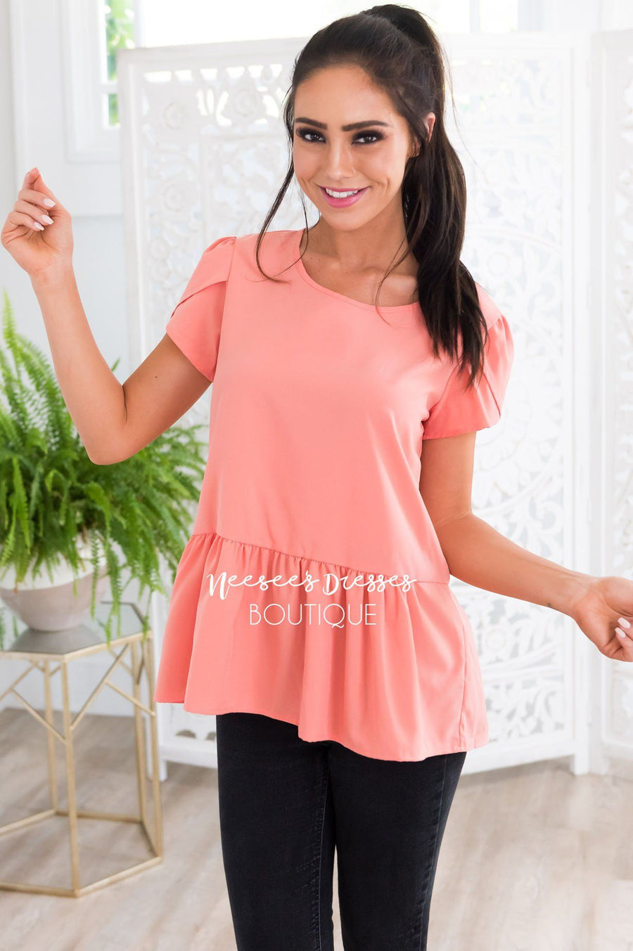 Coral Tulip Sleeve Peplum Top Tops vendor-unknown