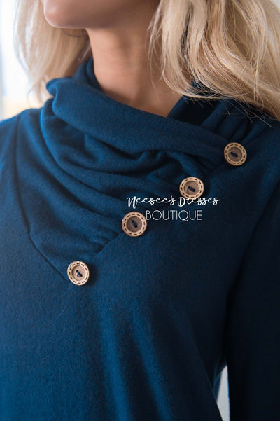 Button Detail Cowl Neck Tunic Tops vendor-unknown