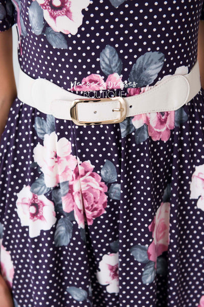 Skinny Cream Belt with Gold Buckle