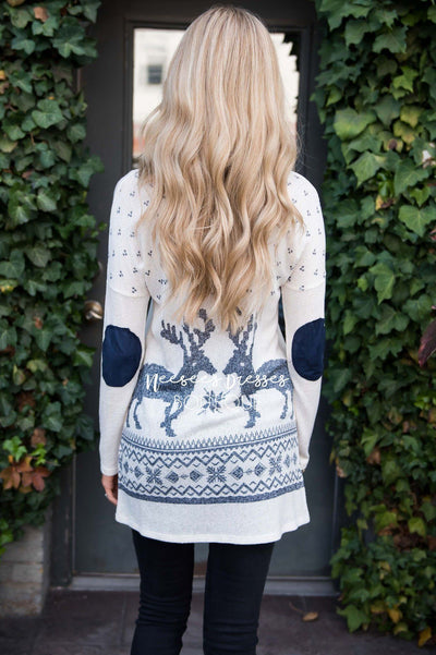 Reindeer Elbow Patch Tunic Tops vendor-unknown