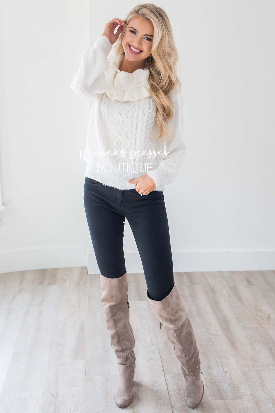 Ivory Knit Sweater with Cute Bow Details Tops vendor-unknown