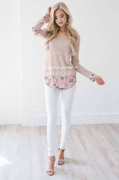 Pop of Floral Elbow Patch Sweater Tops vendor-unknown