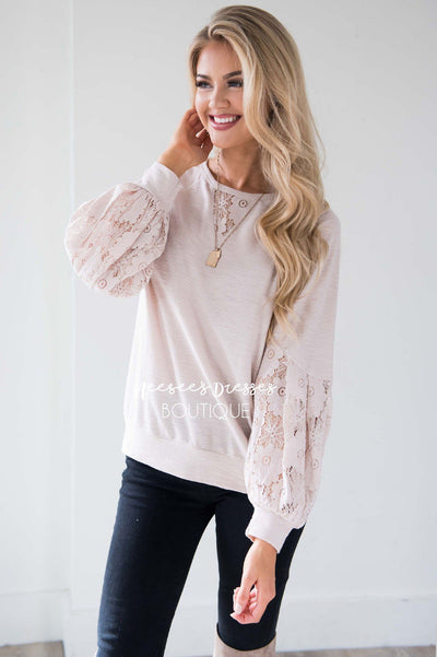 Waiting A Life Time Lace Sleeve Sweater Tops vendor-unknown
